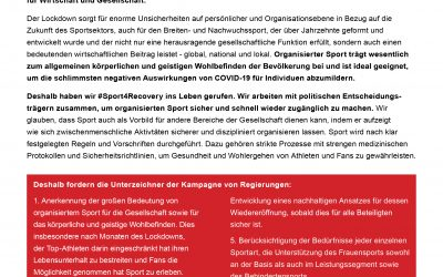 APA unterstützt #Sport4Recovery